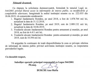 Solicitare 544/2001 - Jandarmerie